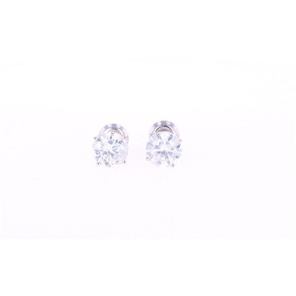 3.00 cts. Diamond Solitaire Stud 18K Earrings