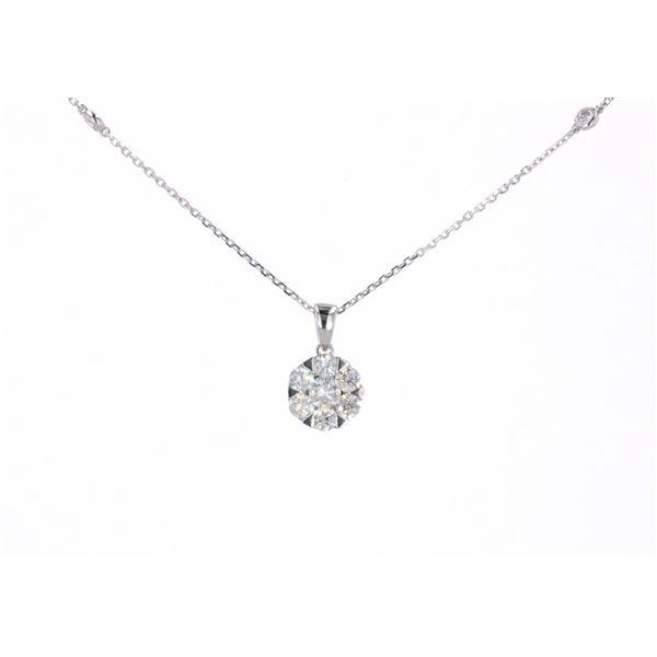 Cluster Diamond & 14k White Gold Necklace