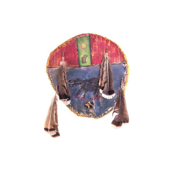 Sioux Bear Cult Painted Buffalo War Shield c. 1870