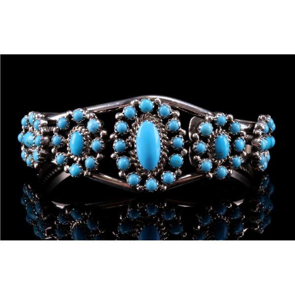 Navajo Nancy Custer Silver & Turquoise Bracelet