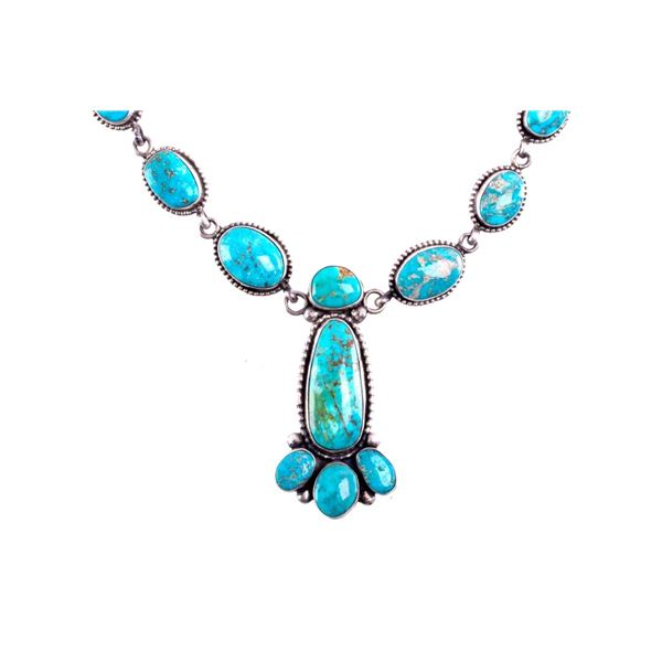 Navajo Sterling & Lone Mountain Turquoise Necklace