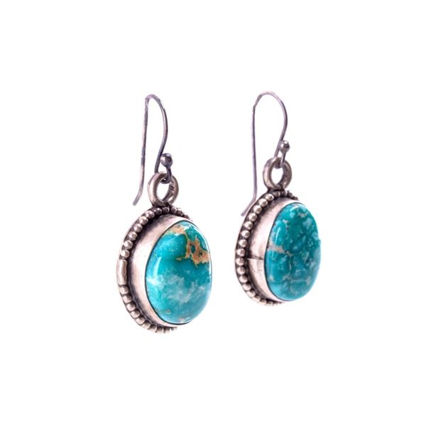 Navajo Sterling & Lone Mountain Turquoise Earrings