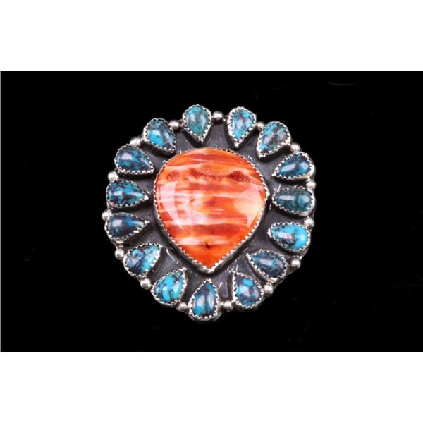 Navajo Sterling Sliver Turquoise & Carnelian Ring