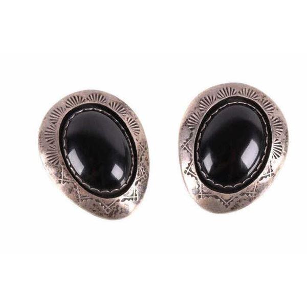 Navajo Teddy Goodluck Old Pawn Silver Earrings