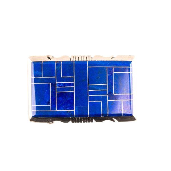 Navajo Wilson Dawes Silver Lapis Lazuli Buckle