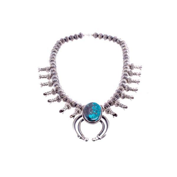 Navajo G. Hale Silver & Turquoise Squash Blossom