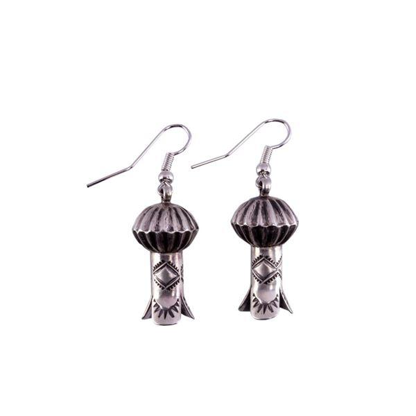 Navajo G. Hale Sterling Silver Squash Earrings