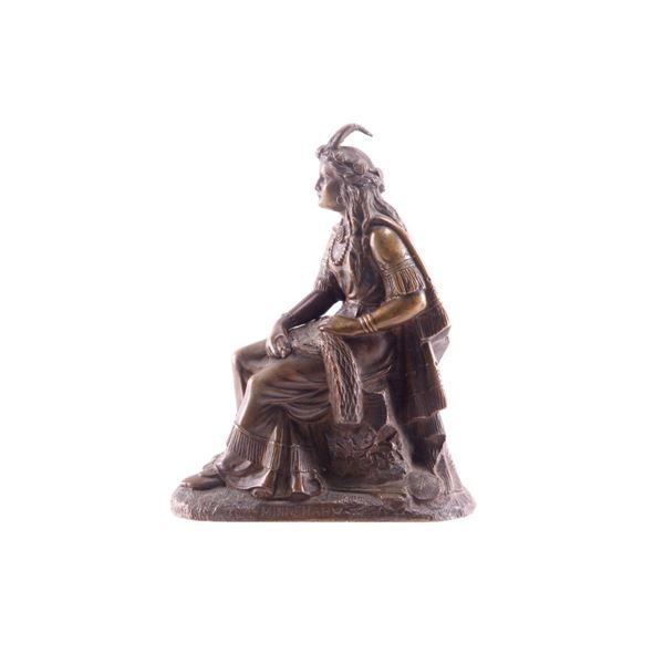 Bronze Minnehaha Indian Sculpture c Late 1800's
