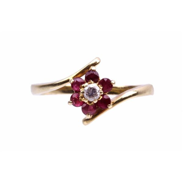 1940's Estate 14K Gold Diamond Spinel Flower Ring