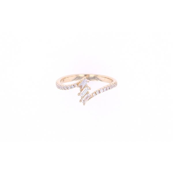 Bypass Baguette Diamond & 14k Yellow Gold Ring