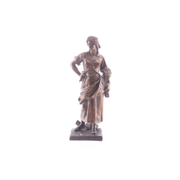 Late 1800 Bronze Harvest Woman Statue By H Thiviez