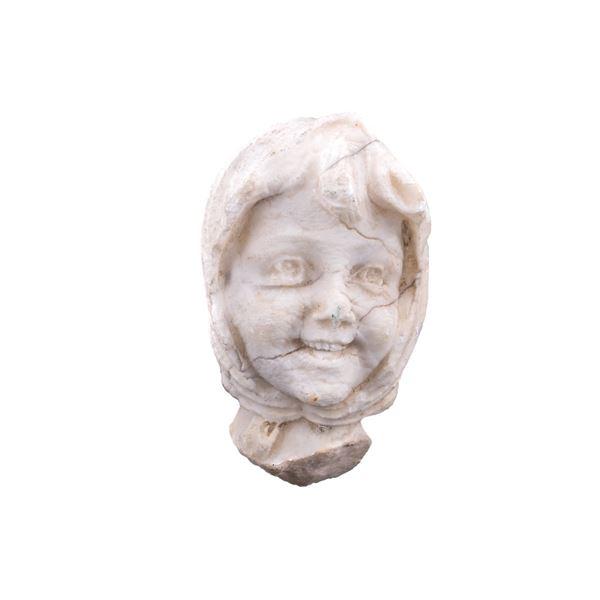 Gypsum Alabaster Young Gypsy Woman Bust c. 19th C