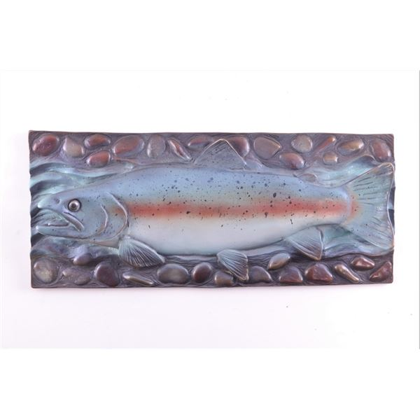 Bronze Rainbow Trout Cast Painted Wall Plaque
