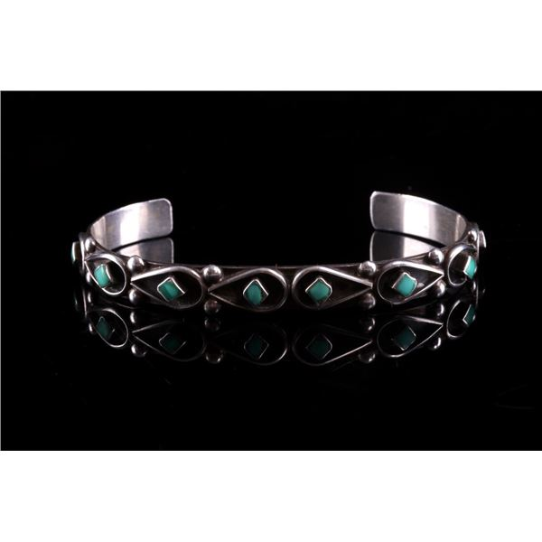 Navajo Fred Cachini Silver & Turquoise Bracelet