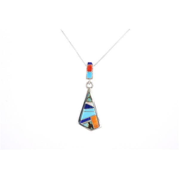 Navajo Elvira Yazzie Silver & Multi Stone Necklace