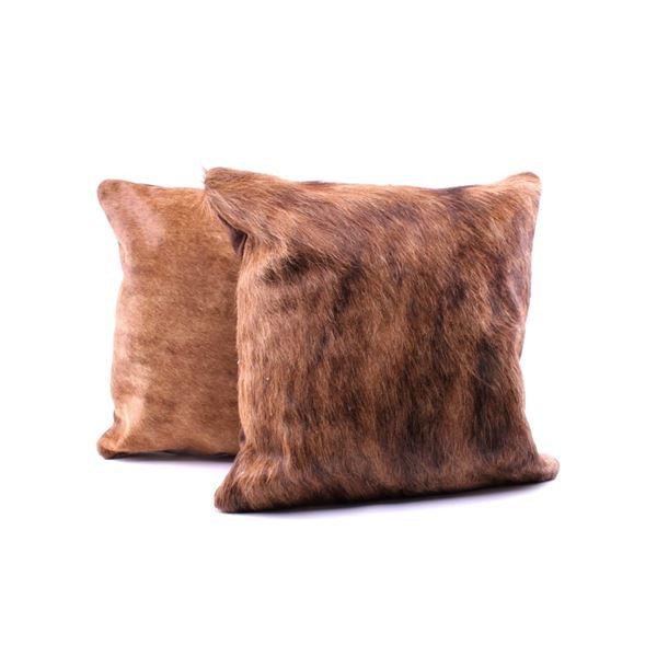 Brindle Light Brown Cowhide Premium Two Pillows