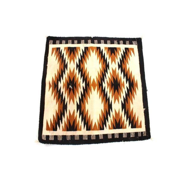 Navajo Crystal Eye Dazzler Wool Rug Early 1900's