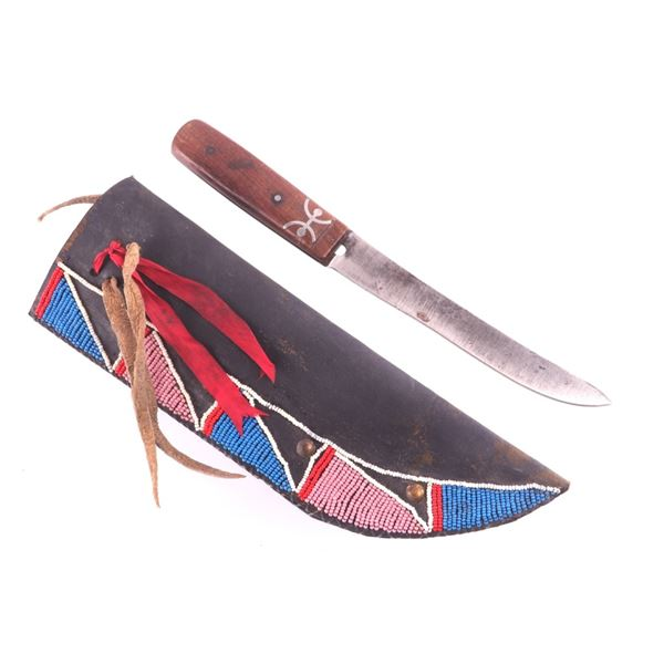 Crow Beaded Harness Leather Sheath & Knife 19th C.