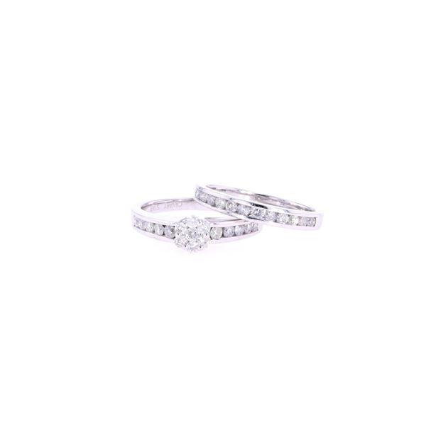 Bridal Brilliant Diamond & 14k White Gold Ring Set