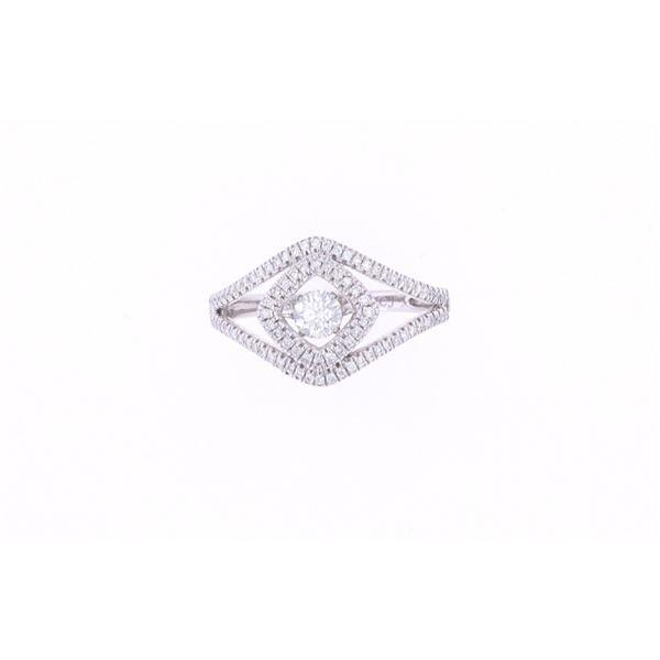 Vintage Split Shank Diamond & 18k White Gold Ring