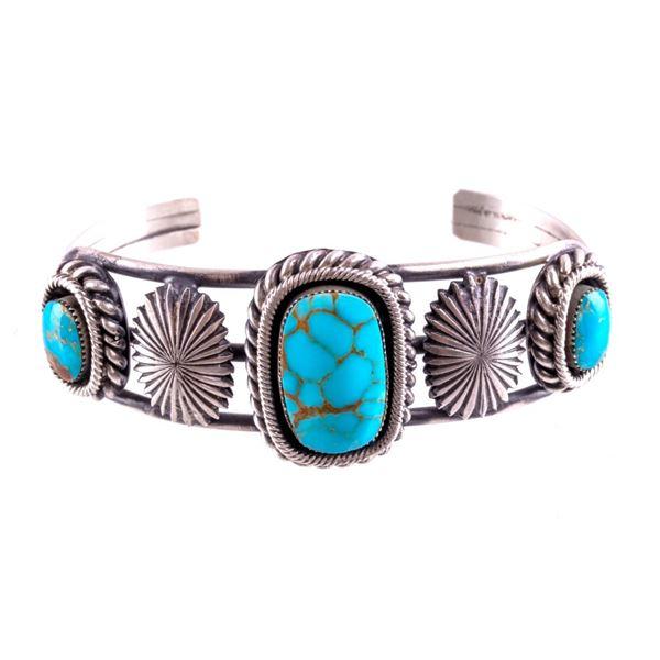 Navajo Daniel Benally Silver & Turquoise Bracelet