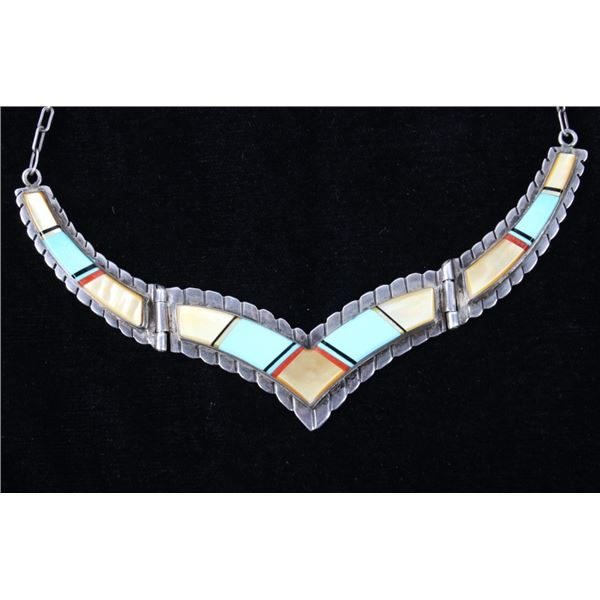 Navajo Micro Inlay Turquoise MOP Vintage Necklace