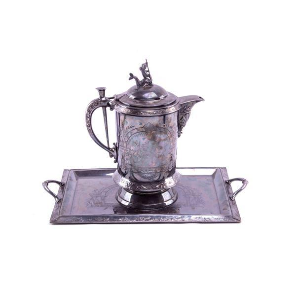 19th C. Meriden Britannia Co Silver Pitcher & Tray