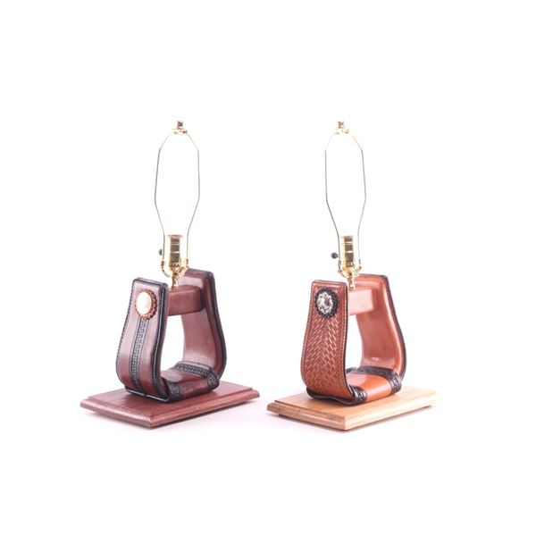 Western Leather & Silver Stirrup Side Lamp Pair