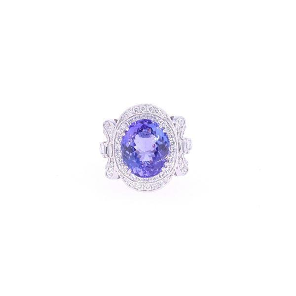 Ribbon 6.64ct Tanzanite Diamond & Platinum Ring