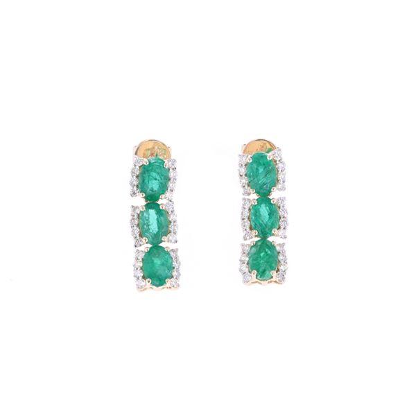 Luxury Natural Emerald & 14k Gold Dangle Earrings