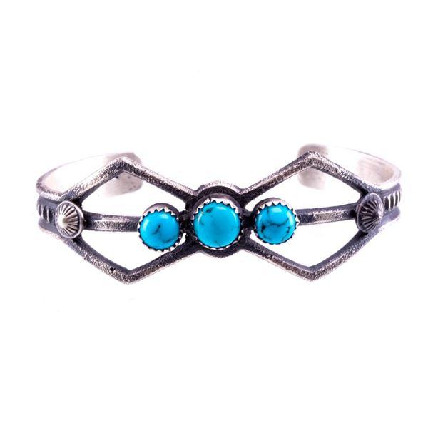 Navajo Eva Billah Silver & Turquoise Tufa Bracelet