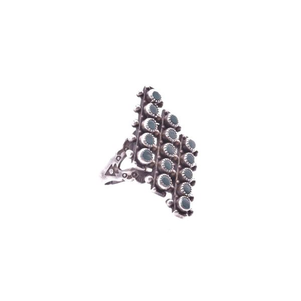 Navajo Silver & Turquoise Cluster Work Ring