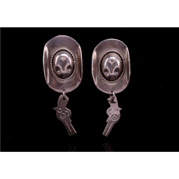 Taxco, Mexico Sterling Silver Vaquero Hat Earrings