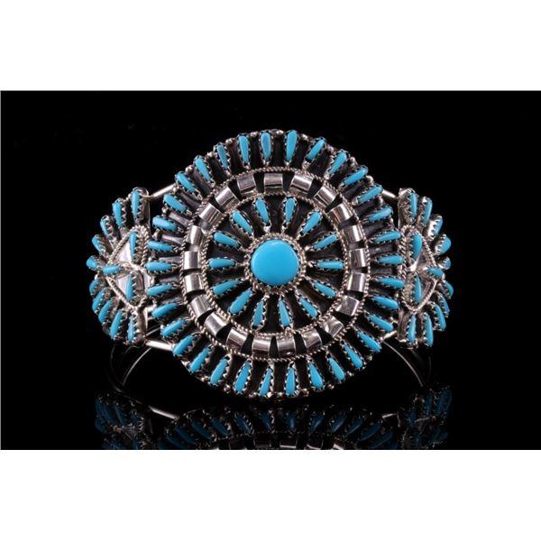 Navajo V. Begay Silver Petite Turquoise Bracelet