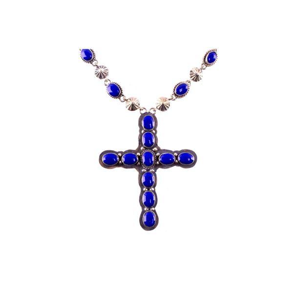 Armand American Horse Lapis Lazuli Cross Necklace