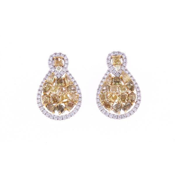 Fancy Yellow Diamond & 14k White Gold Earrings