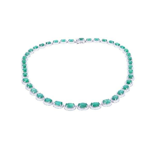 Luxury 38.47ct Emerald & Diamond 14k Gold Necklace