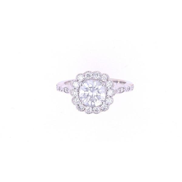Art Nouveau VS2 Diamond 18k White Gold Unity Ring