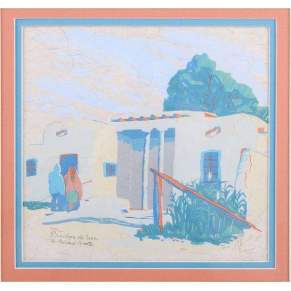 H. Gilbert Foote Rancho De Taos Woodblock Print