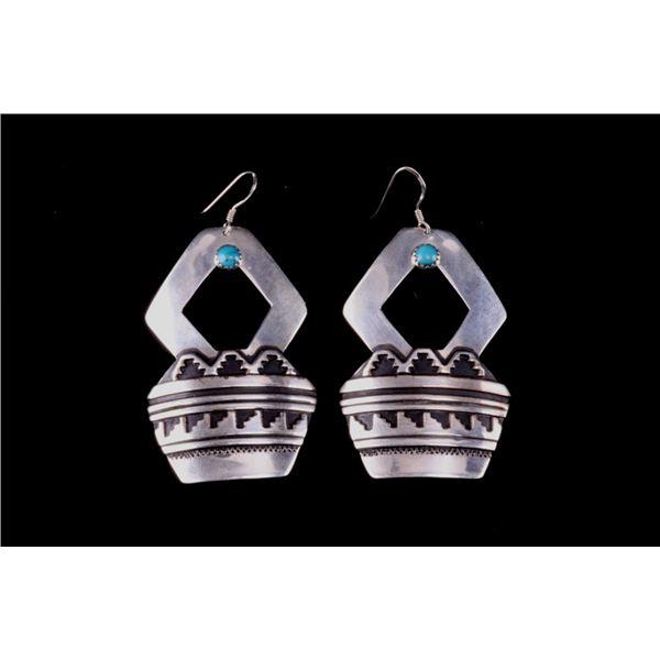 Navajo T & R Singer Silver & Turquoise Earrings