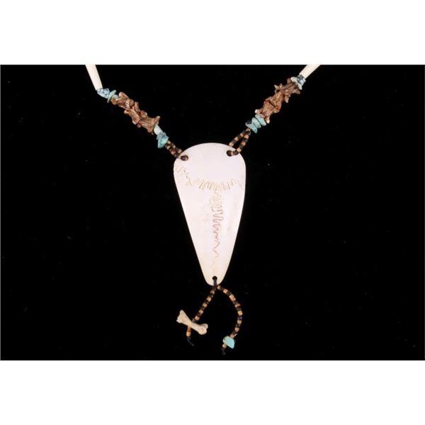 Elk Skull Bone Snake Vertebrae & Heishi Necklace