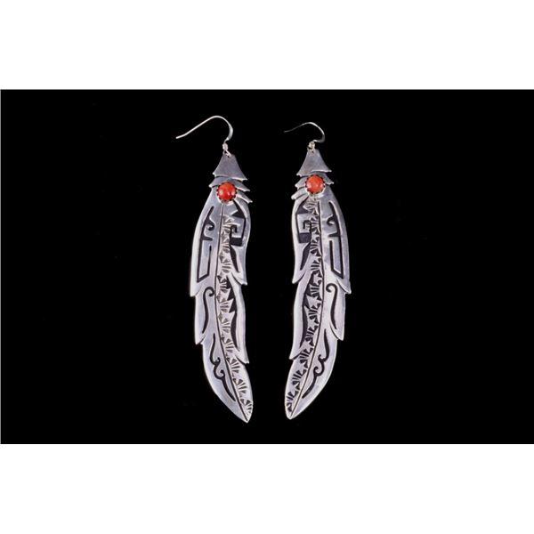 Navajo T&R Singer Sterling & Branch Coral Earrings