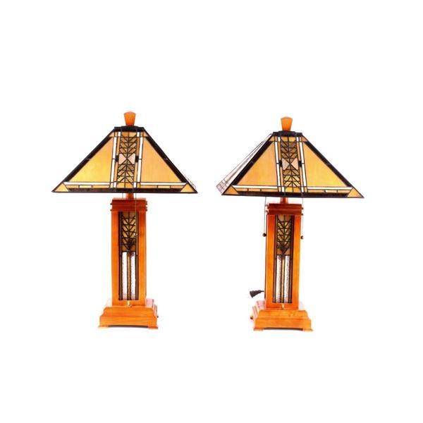 Pair of 20th Century Lamps w/ Slag Lampshades