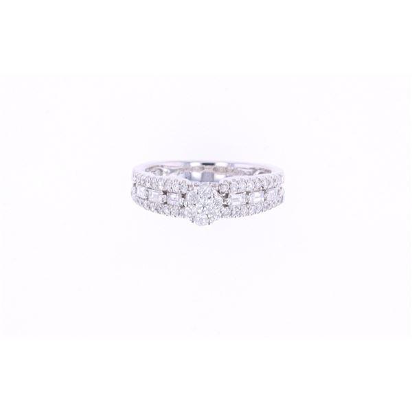 Double Engagement Diamond & 14k White Gold Ring