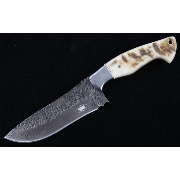 M.T. Knives Rams Horn & Damascus Hammered Knife