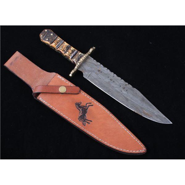 Colt Damascus Antler Handle Bowie Knife & Sheath