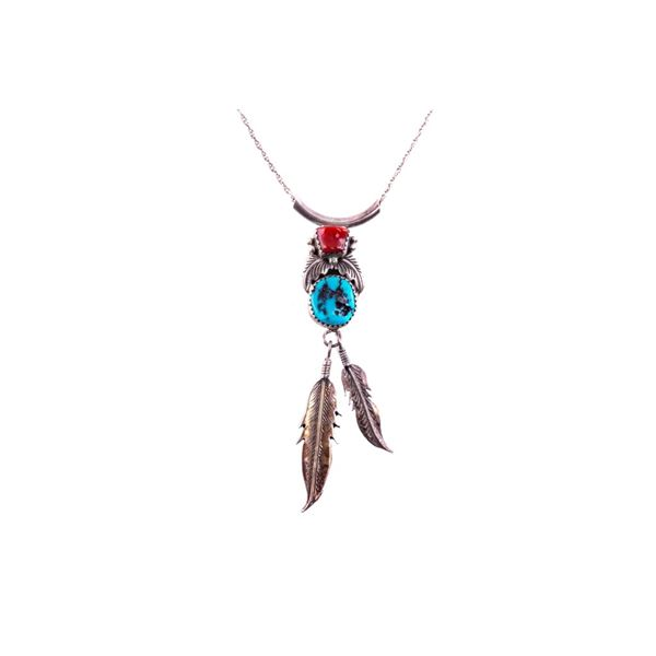 Navajo Secatero Silver Turquoise & Coral Necklace