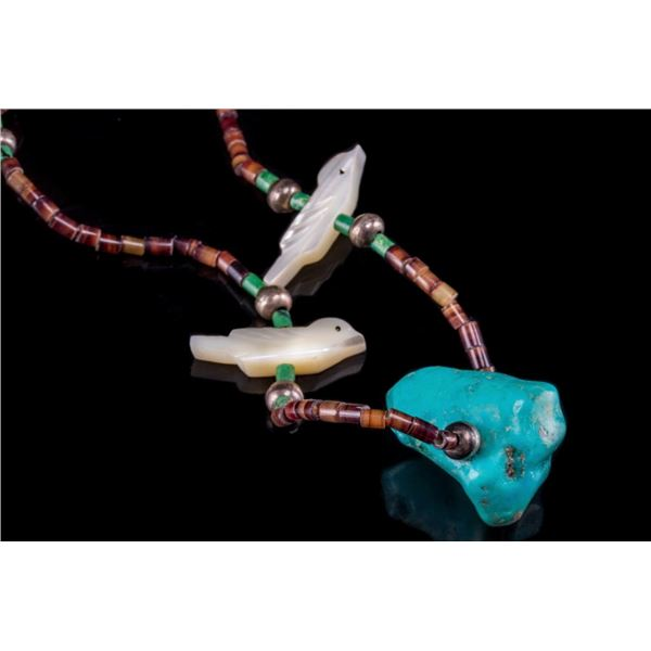 Navajo Turquoise Heishi & Mother of Pearl Necklace