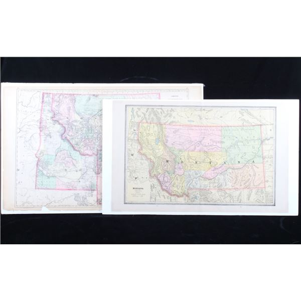 Northwest State Hand Tinted County 1800's Maps