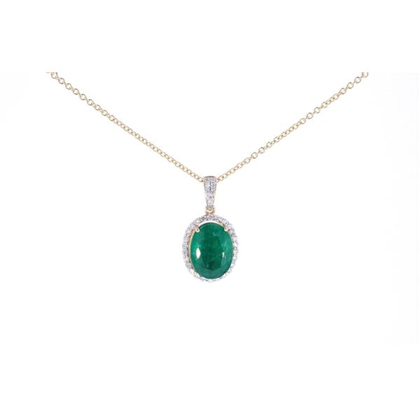 Natural 9.80ct Emerald & Diamond 18k Gold Necklace